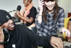 Young people recording music